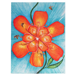 "Bee 2nd Chakra Card 4.2""w x 5.25""l Artist M. Courmont"