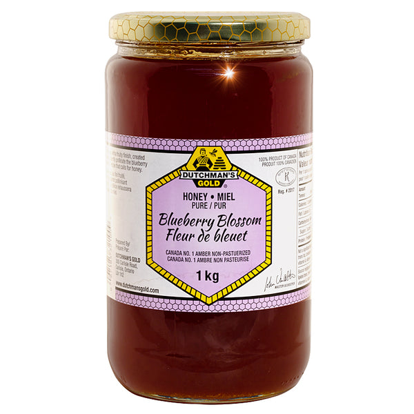 Blueberry Honey 1kg Glass Jar Dutchman's Gold