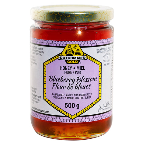 Blueberry Honey 500g Glass Jar Dutchman's Gold