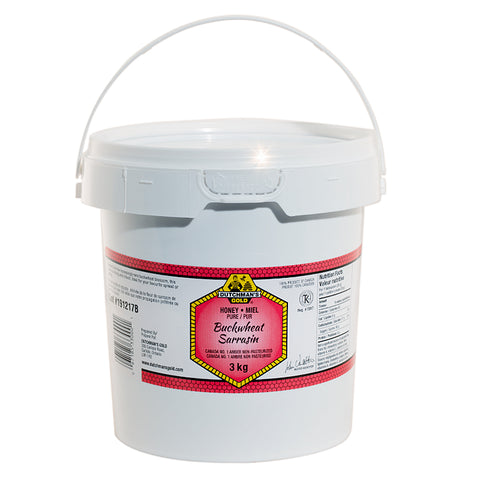 Buckwheat Honey 3kg Plastic Food Grade Pail Dutchman's Gold