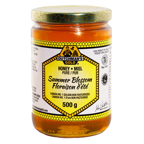 Summer Blossom Honey 500g Glass Container Dutchman's Gold