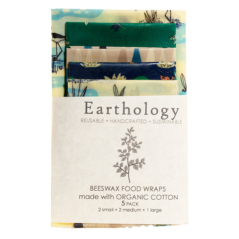 Beeswax Food Wraps 5-Pack Earthology made with Organic Cotton