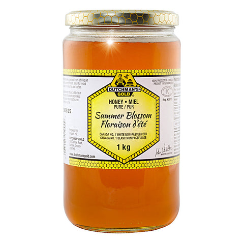 Summer Blossom Honey 1kg Glass Jar Dutchman's Gold