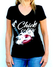 Chicks Love Sticks Cigar Theme Tee Shirt - Black