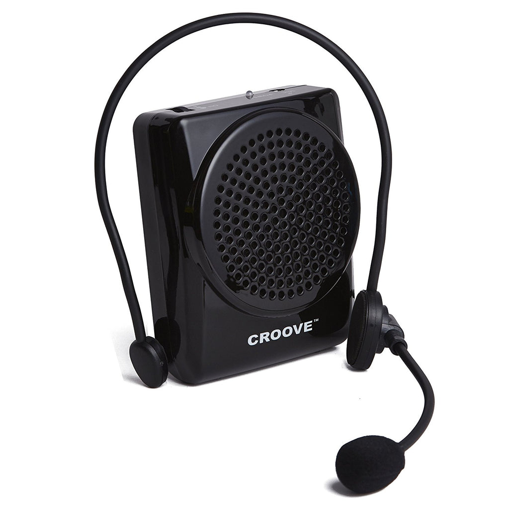 Croove Rechargeable Voice Amplifier, with Waist/Neck Band & Belt Clip, 20 Watts. Very Comfortable Headset