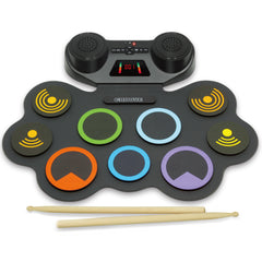 Croove Electronic Drum Set | 9 Drum Pads & 2 Pedals | Rechargeable Kids Drum Set | Headphone Jack Makes It A Great Drum Set For Kids | Wooden Drum Sticks