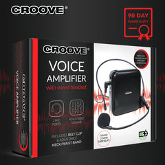 Croove Voice Amplifier: Portable Rechargeable Microphone with Headset & Belt Clip - Ideal for Classroom Teachers & Tour Guides