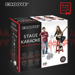 Croove Karaoke Machine for Adults and Kids with 2 Microphones, Streams Music via AUX, RCA, USB, SD Card Slot or Bluetooth