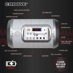 Croove Karaoke Machine for Adults and Kids with 2 Microphones, Streams Music via AUX, USB, SD Card Slot or Bluetooth