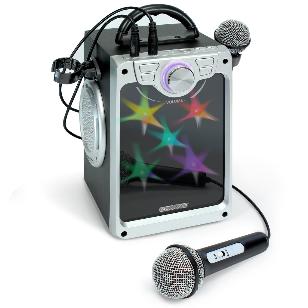 Croove POP BOX Karaoke Machine for Kids with 2 Microphones and Flashing Disco Lights (Black)