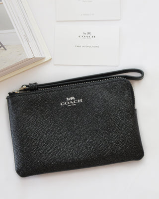 COACH CORNER ZIP WRISTLET IN GLITTER CROSSGRAIN LEATHER - LovelyMadness Clothing Online Fashion Malaysia
