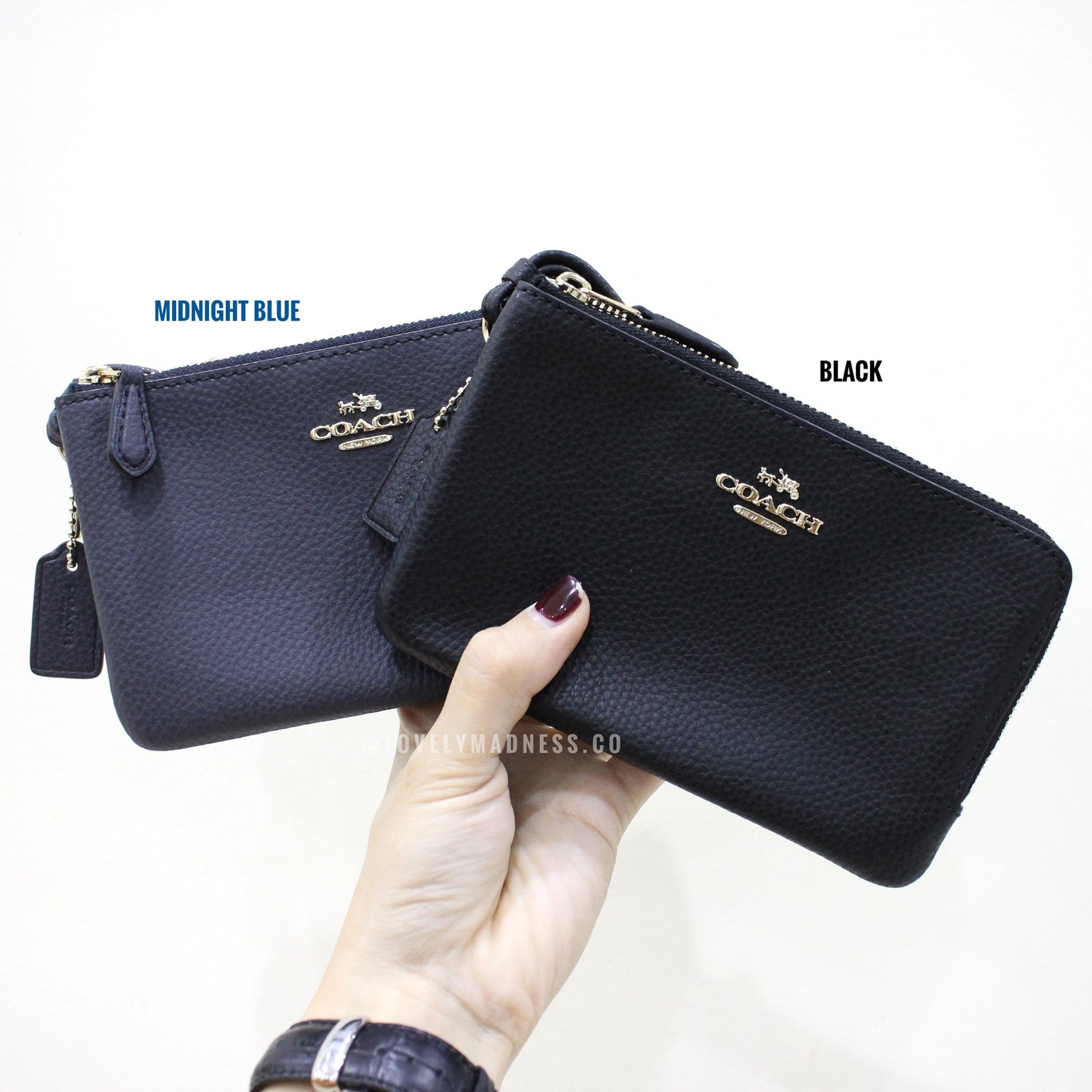 bd45bb1809b9 COACH DOUBLE CORNER ZIP WALLET POLISHED PEBBLE LEATHER – LovelyMadness