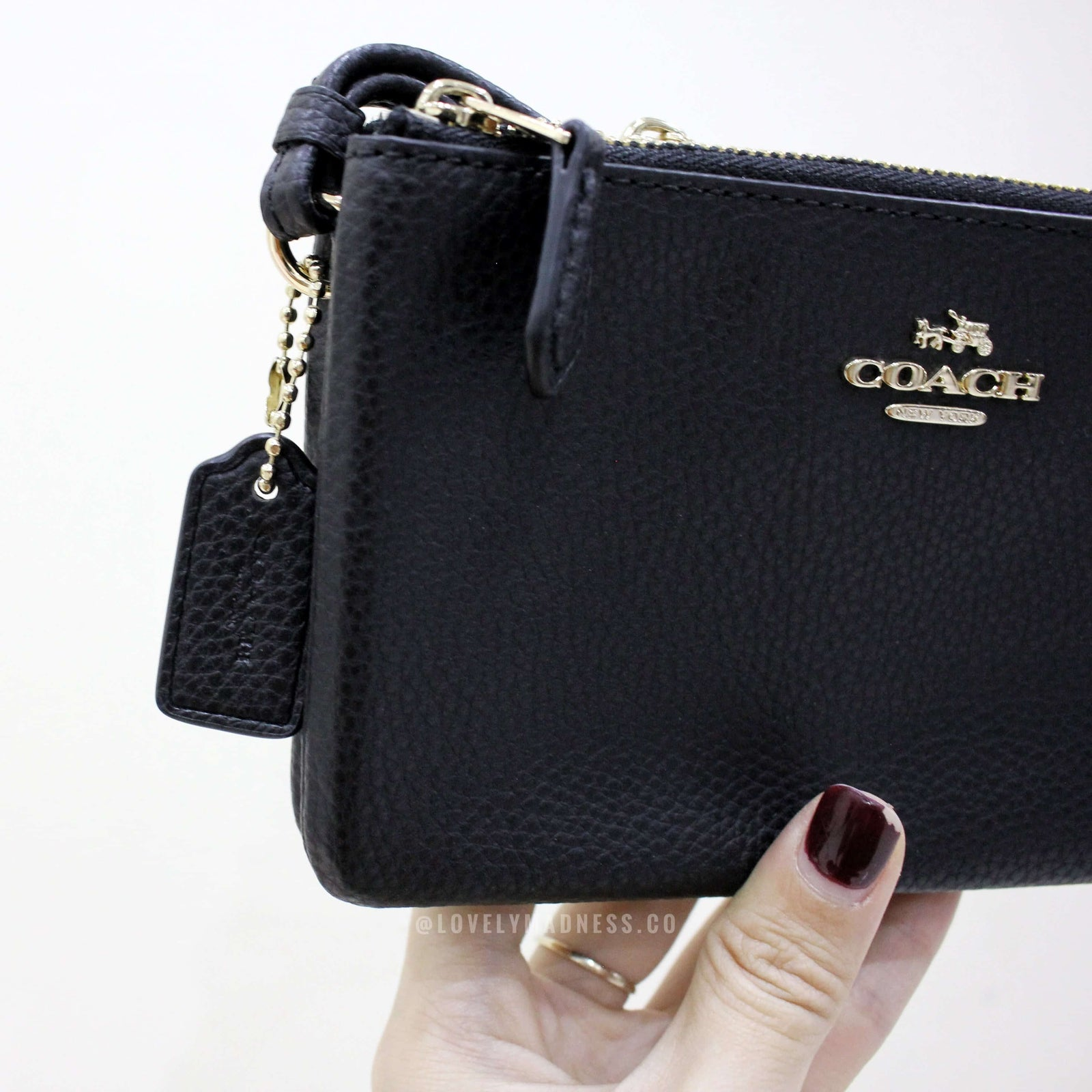 COACH DOUBLE CORNER ZIP WALLET POLISHED PEBBLE LEATHER - Lovely Madness