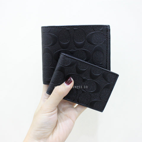 COACH MONEY CLIP CARD CASE IN CALF LEATHER