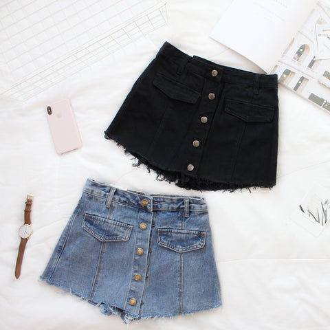 Denim High Waist Ripped Short