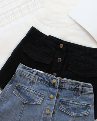 Denim Button Skort - LovelyMadness Clothing Online Fashion Malaysia