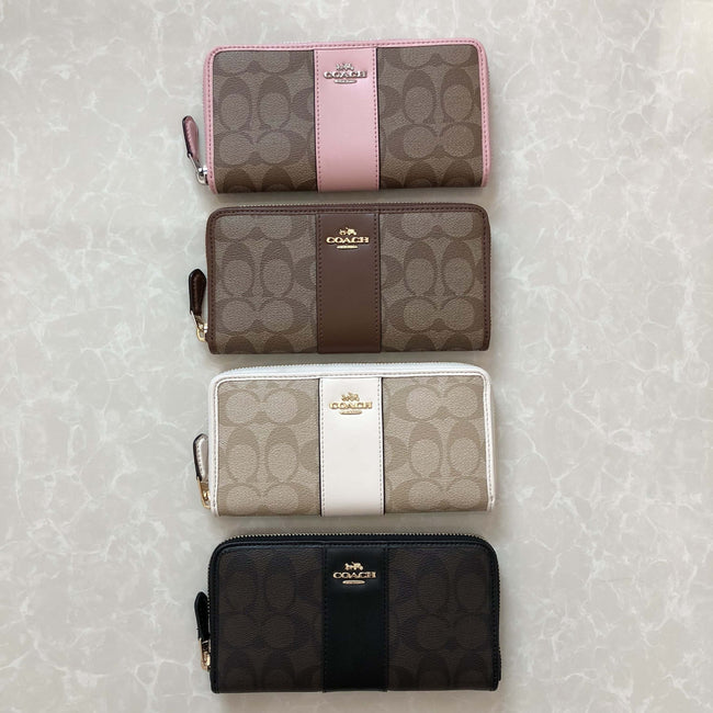 COACH ACCORDION ZIP WALLET IN SIGNATURE COATED CANVAS - Lovely Madness