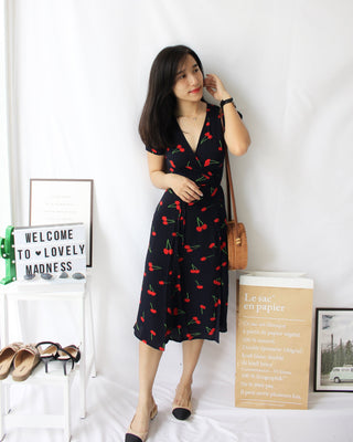 Cherry Wrap Long Dress - Lovely Madness