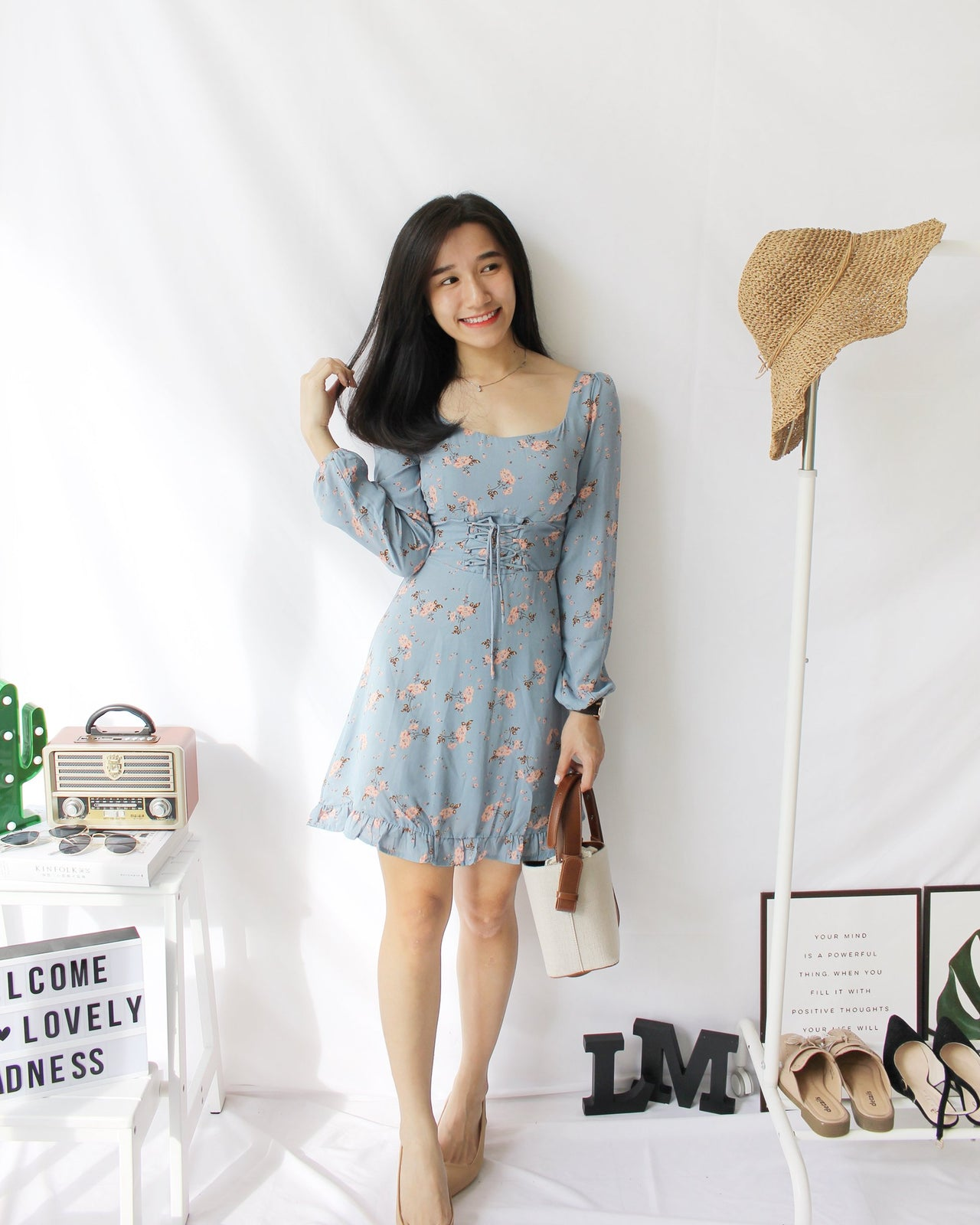 Floral Square Neck Dress - LovelyMadness Clothing Online Fashion Malaysia