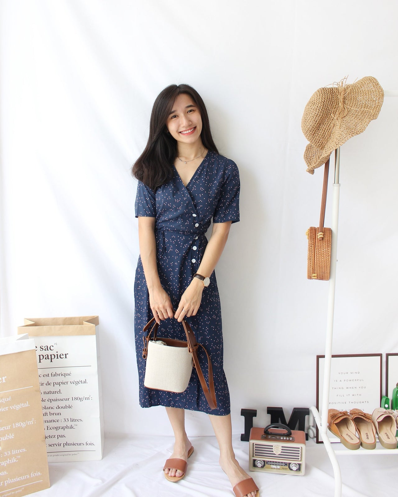 Floral Wrap Long Dress (Navy) - LovelyMadness Clothing Online Fashion Malaysia