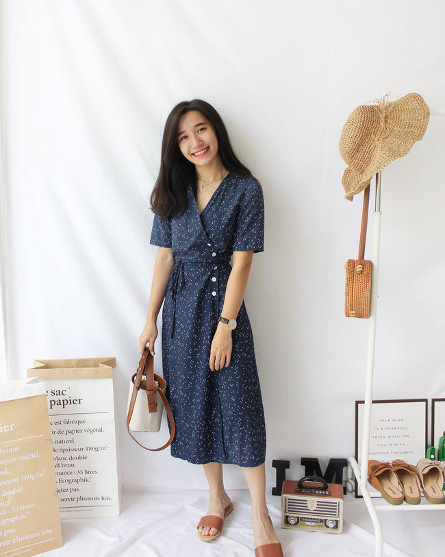 Floral Wrap Long Dress (Navy)