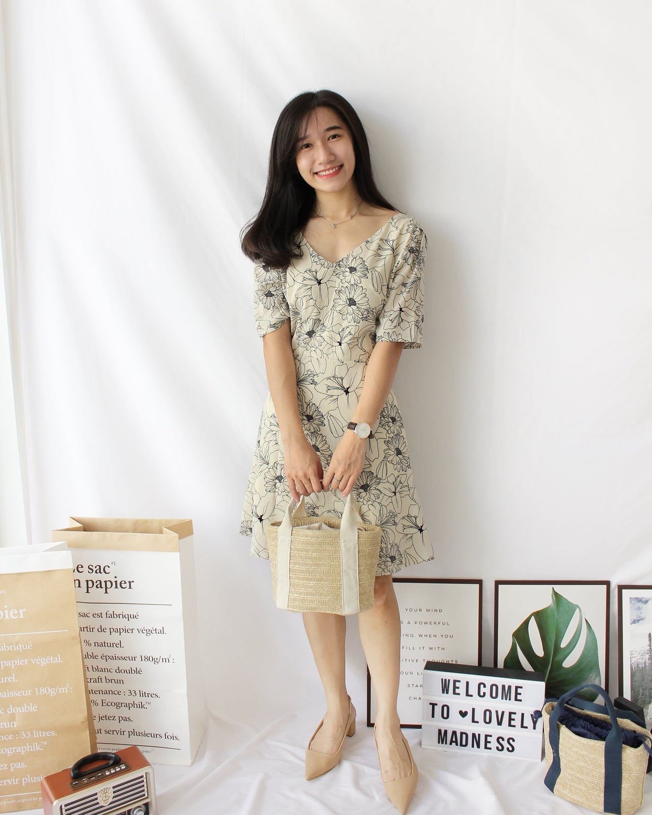 Jae Eun 재은 Floral Dress - LovelyMadness Clothing Online Fashion Malaysia