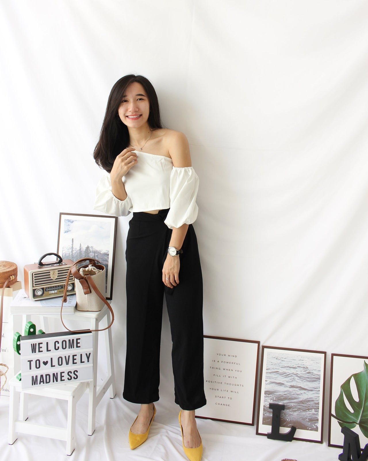Oblique Off Shoulder Top - LovelyMadness Clothing Online Fashion Malaysia