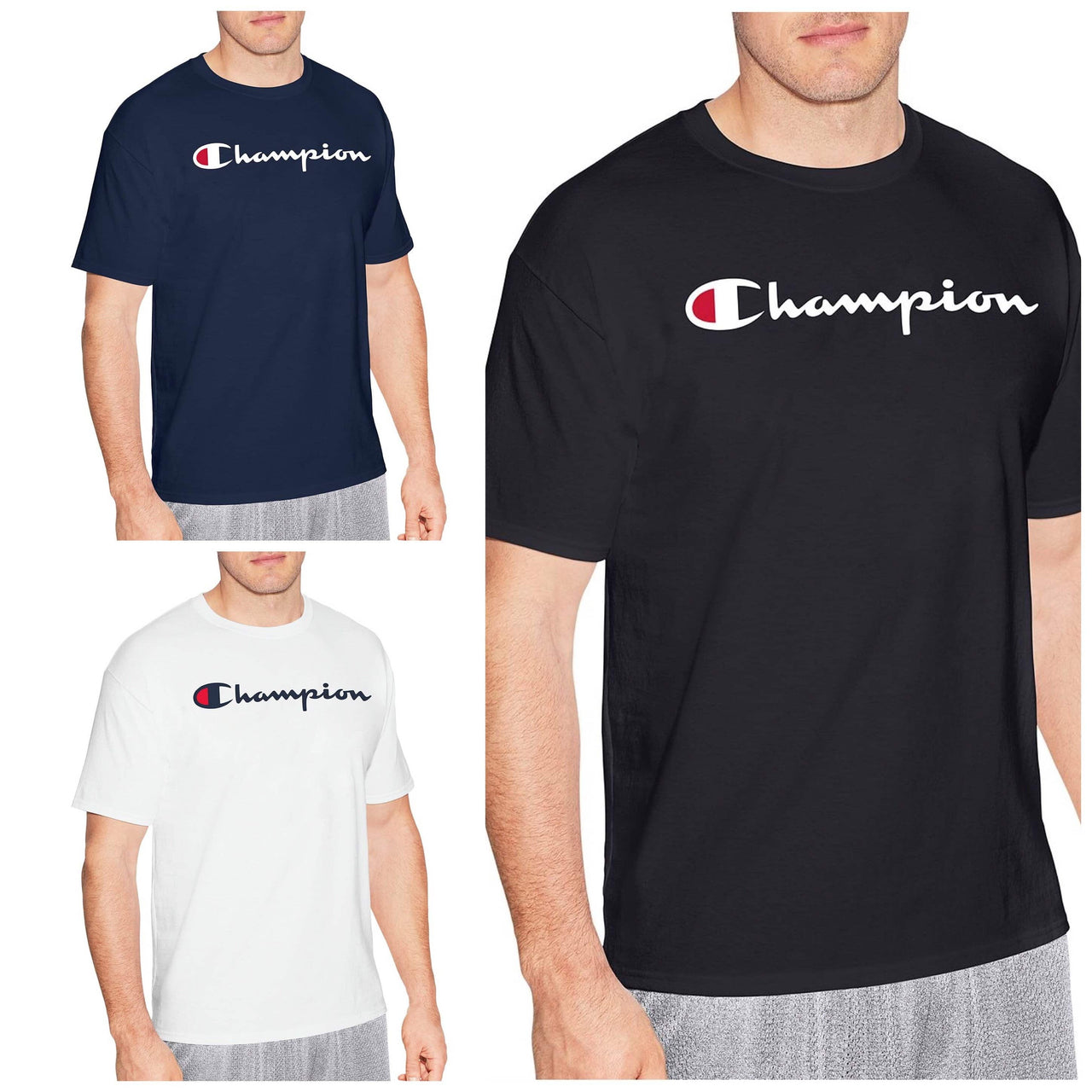 Champion Men's Cotton Script Logo Tee - LovelyMadness Clothing Online Fashion Malaysia
