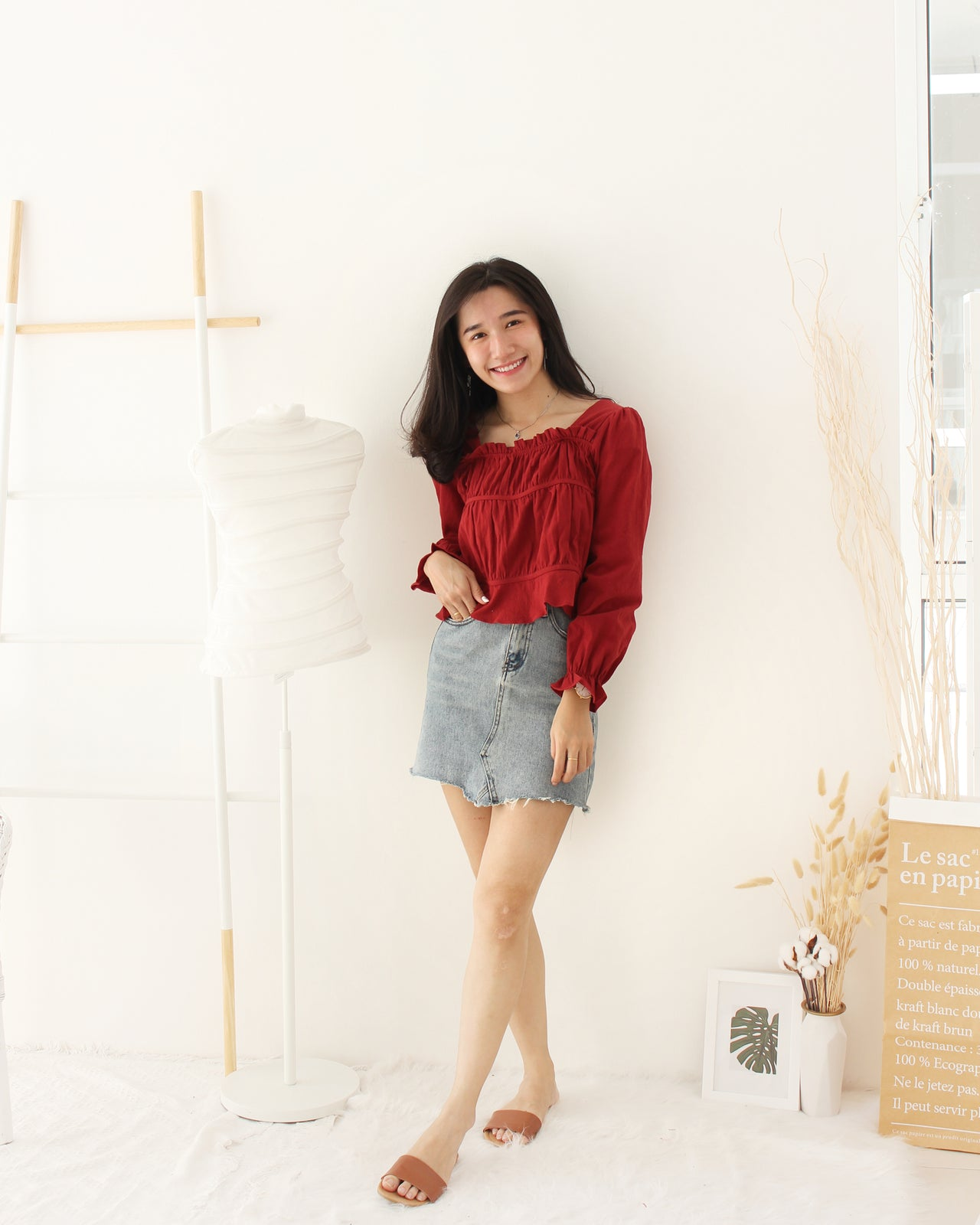 Ruffle Long Sleeve Top - LovelyMadness Clothing Online Fashion Malaysia