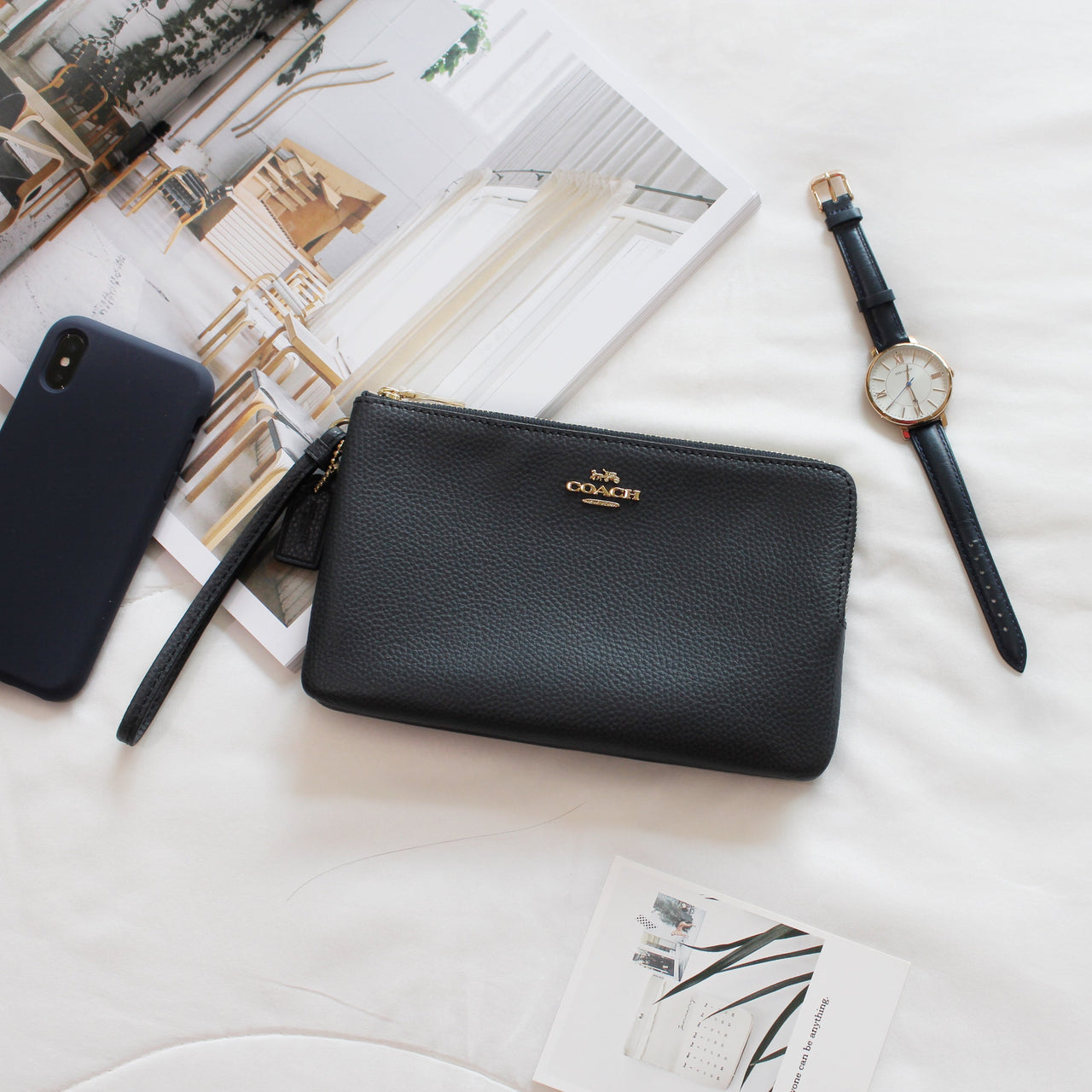 COACH DOUBLE ZIP WALLET IN POLISHED PEBBLE LEATHER - LovelyMadness Clothing Online Fashion Malaysia