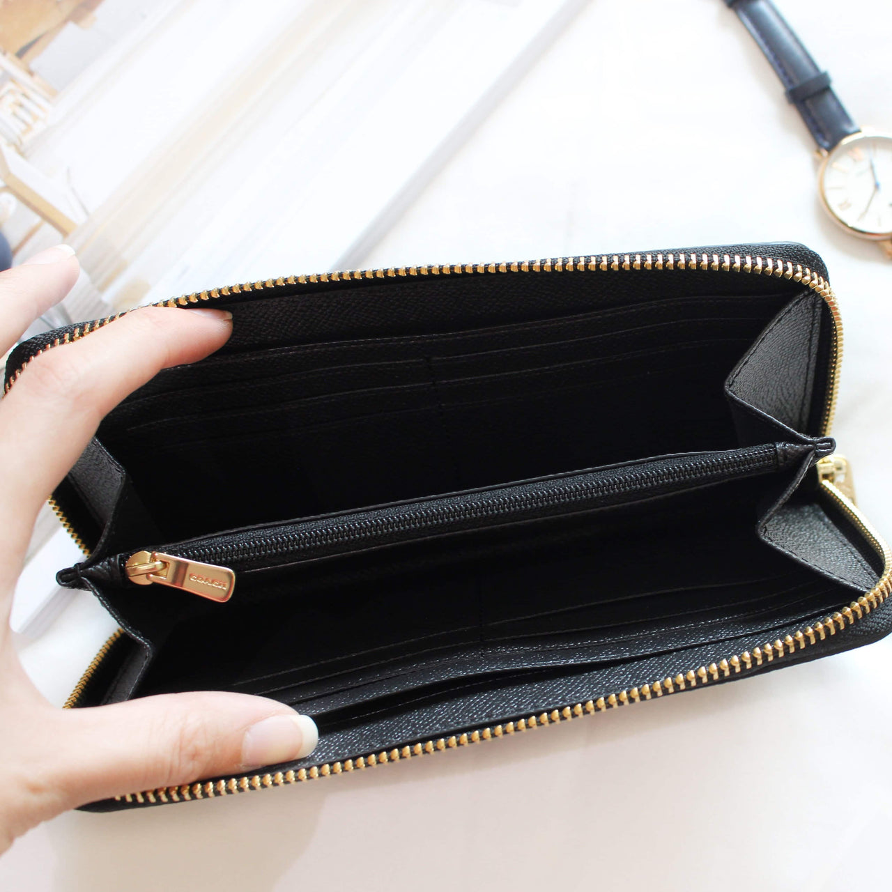 COACH ACCORDION ZIP WALLET IN POLISHED PEBBLE LEATHER - LovelyMadness Clothing Online Fashion Malaysia