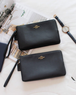 COACH DOUBLE ZIP WALLET IN POLISHED PEBBLE LEATHER - Lovely Madness