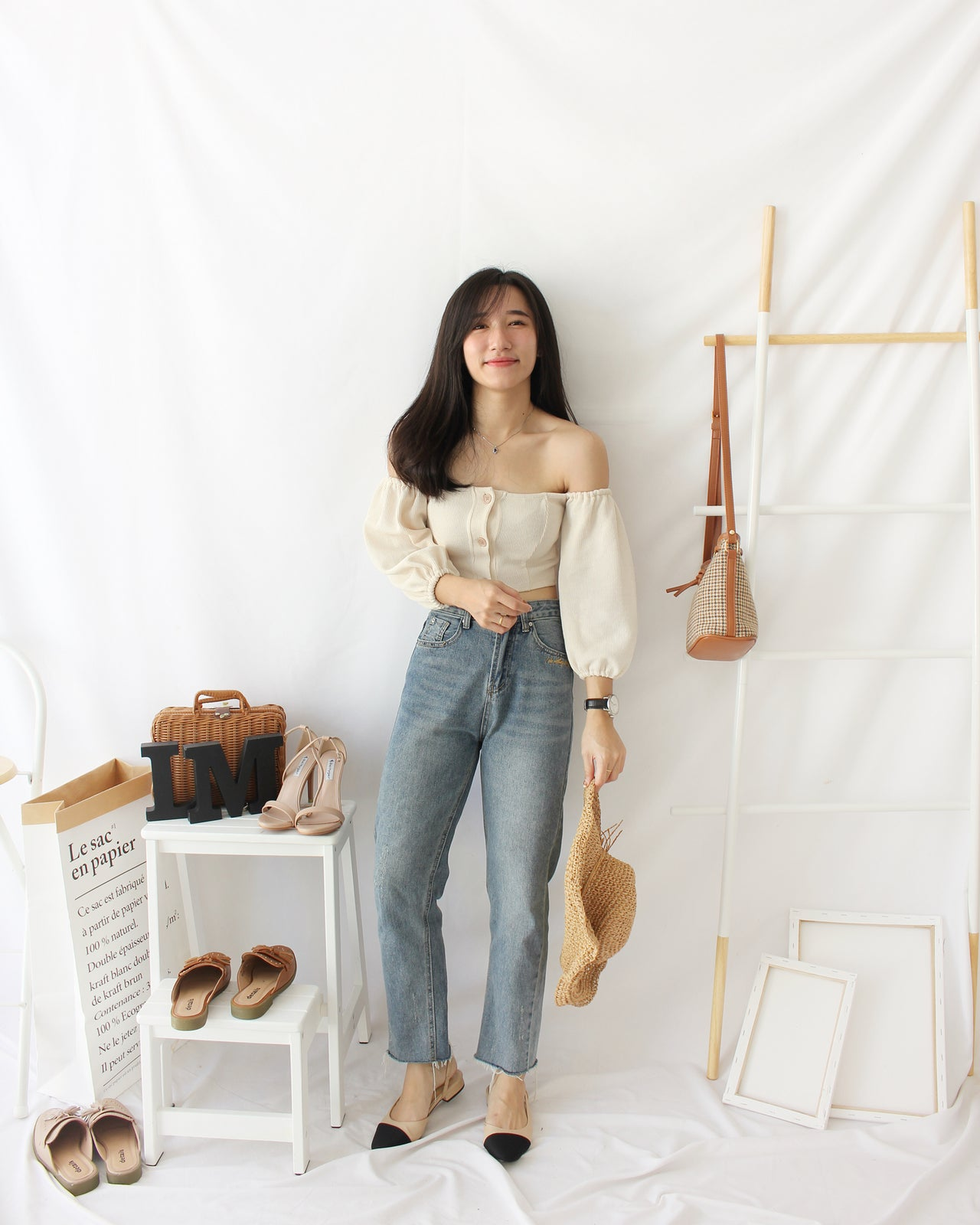 Puffy Button Top (BEIGE) - LovelyMadness Clothing Online Fashion Malaysia