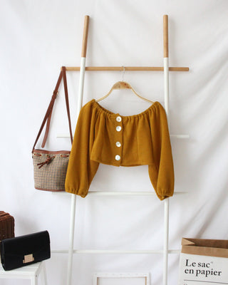 Puffy Button Top (MUSTARD) - Lovely Madness