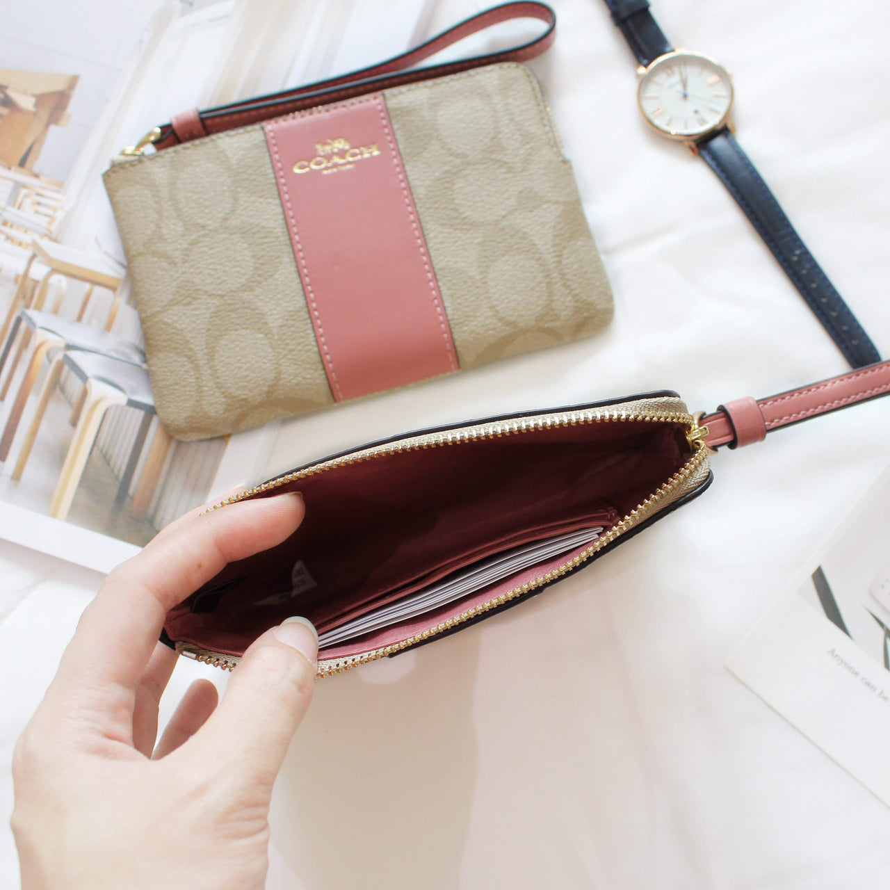 COACH SIGNATURE PVC LEATHER CORNER ZIP WRISTLET - LovelyMadness Clothing Online Fashion Malaysia