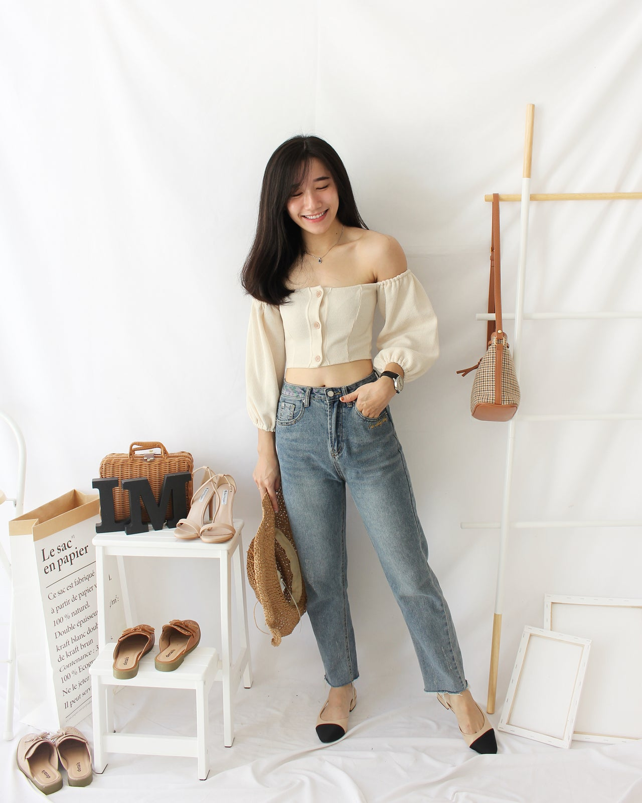 Puffy Button Top (BEIGE) - Lovely Madness