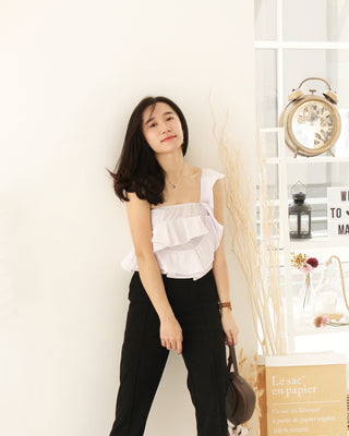Rena Ruffle Oblique Top - LovelyMadness Clothing Online Fashion Malaysia