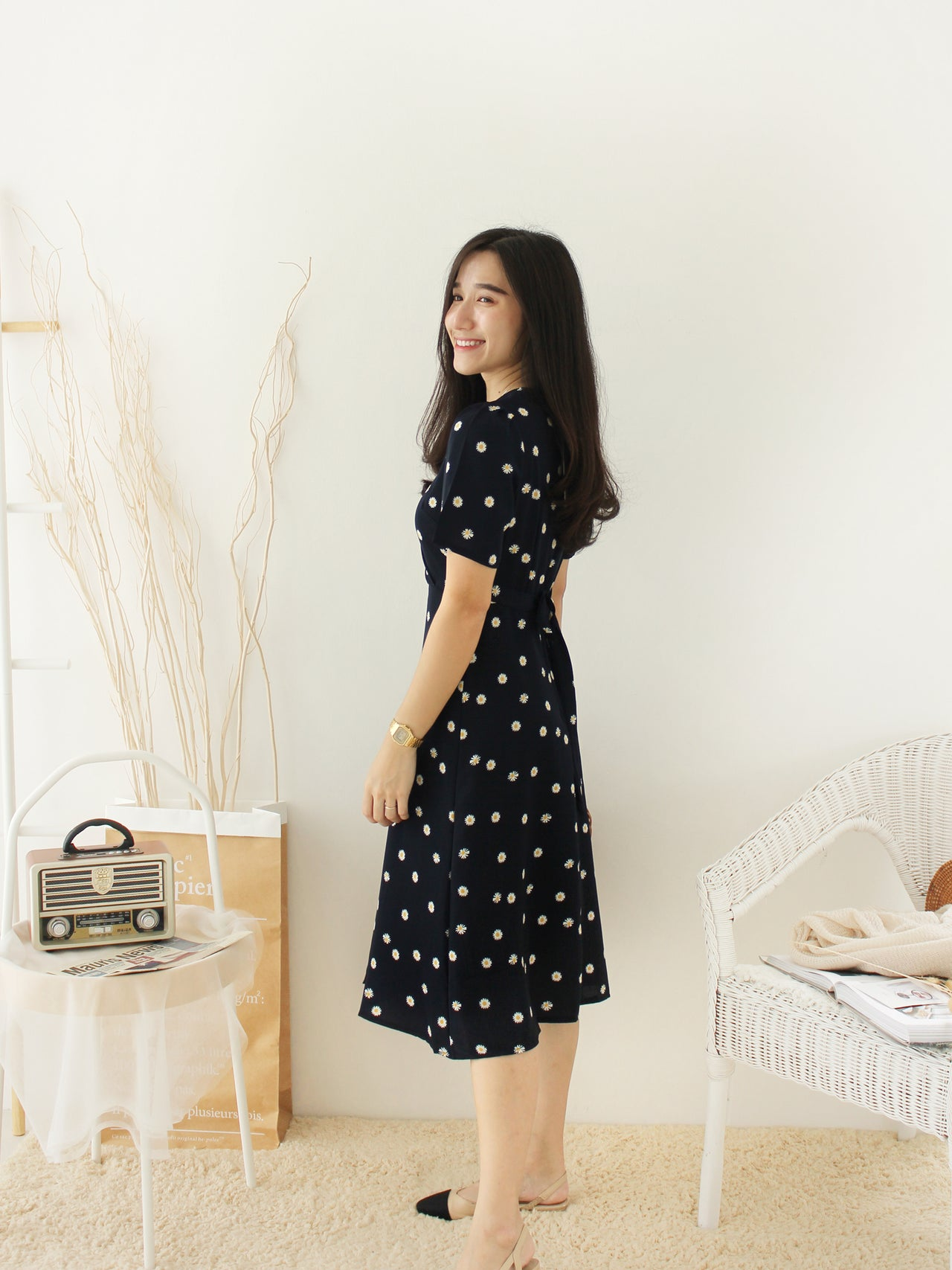 Korean Navy Floral Dress - LovelyMadness Clothing Online Fashion Malaysia