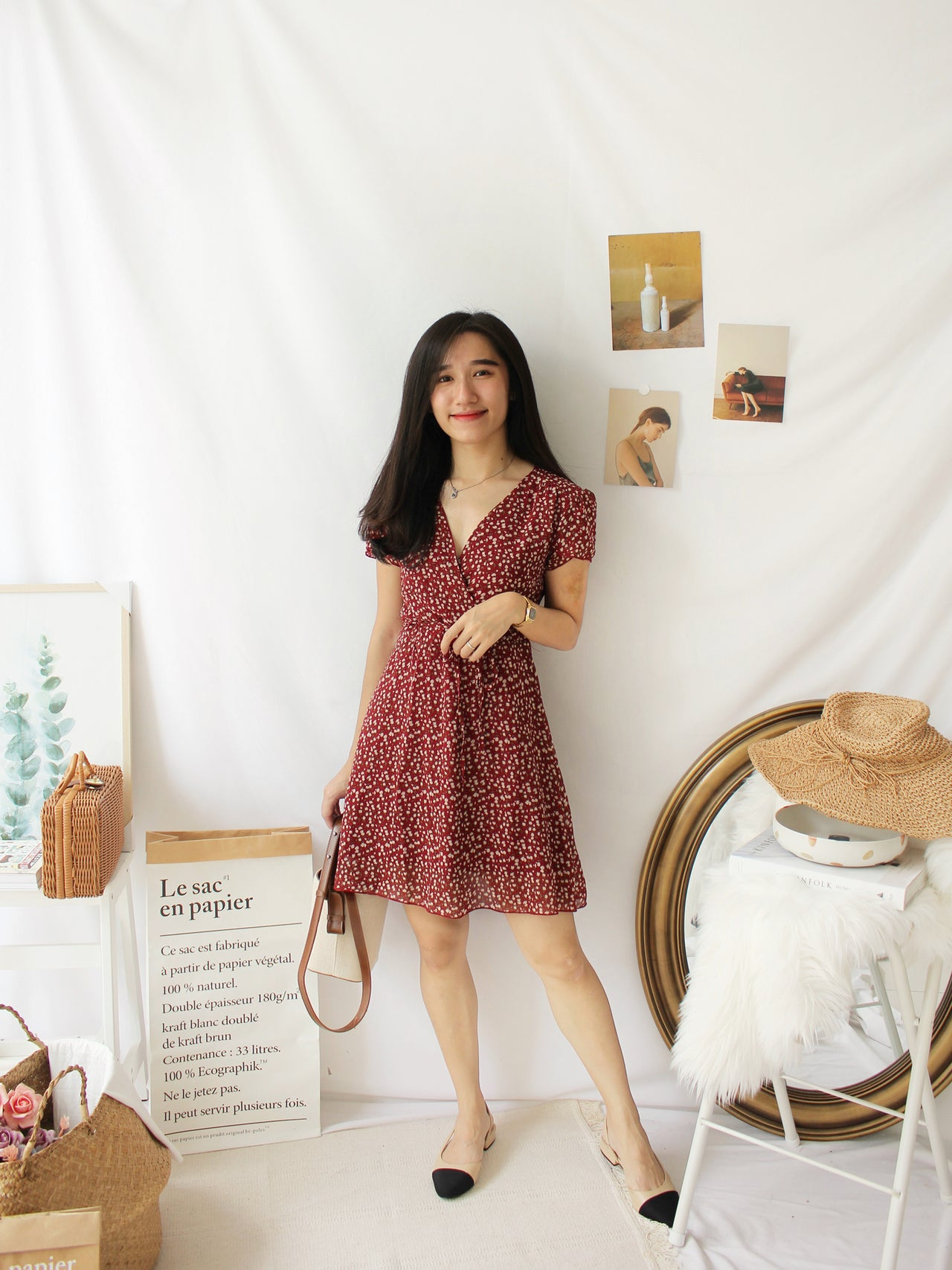 Daisy Maroon Floral Dress - LovelyMadness Clothing Online Fashion Malaysia