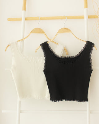 Rib Lace Crop Tank - LovelyMadness Clothing Online Fashion Malaysia