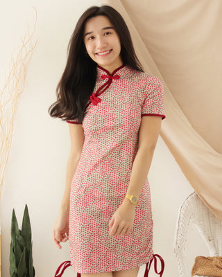 RED FLORAL Cheongsam
