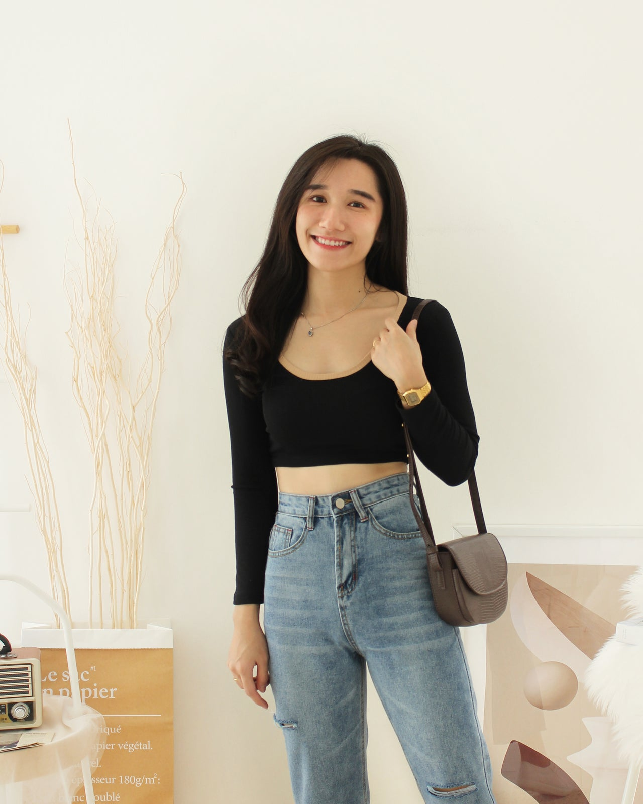 High Waist Ripped Jeans - LovelyMadness Clothing Online Fashion Malaysia