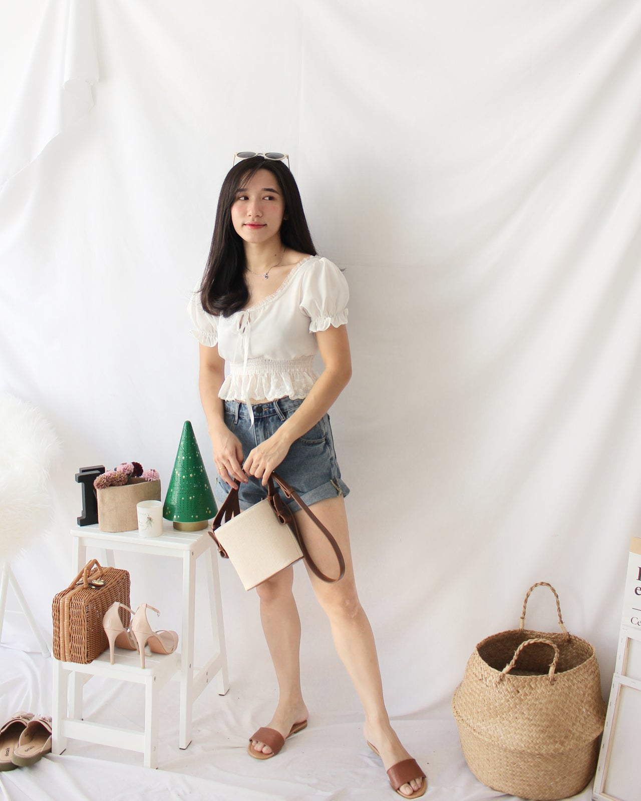 Snow White Puffy Top - LovelyMadness Clothing Online Fashion Malaysia