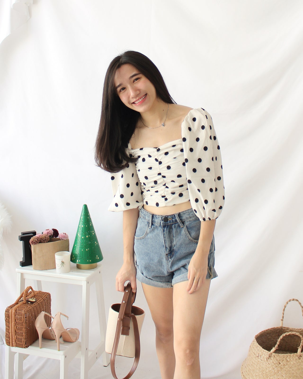 Creamy Polka Dots Top - LovelyMadness Clothing Online Fashion Malaysia
