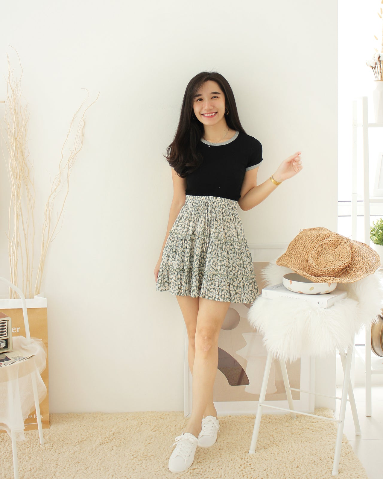 Nora Floral Print Skirt - LovelyMadness Clothing Online Fashion Malaysia