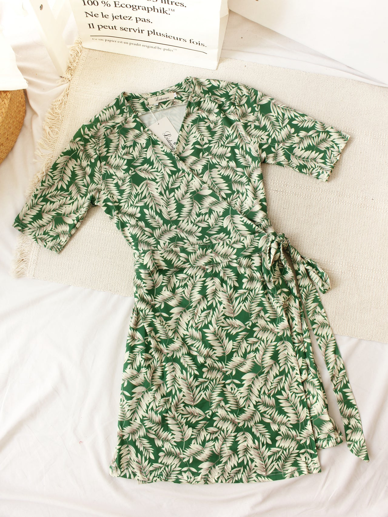 SUMMER LEAVES WRAP Dress
