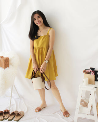 Mustard Tank Dress - LovelyMadness Clothing Online Fashion Malaysia