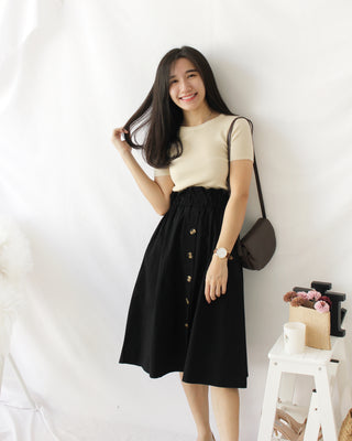 Ruffle Button High Waist - LovelyMadness Clothing Online Fashion Malaysia
