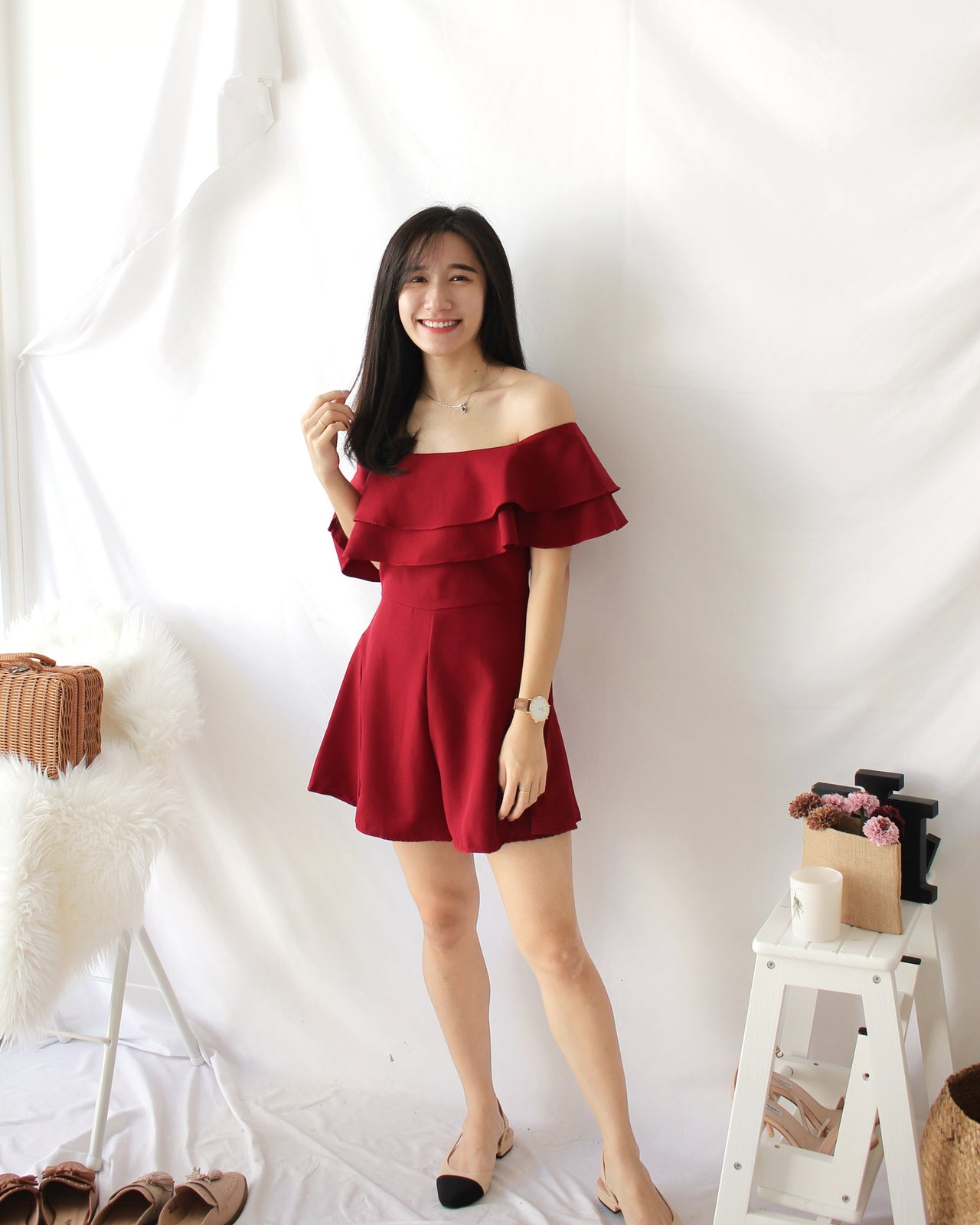 Hermione Romper (MAROON) - LovelyMadness Clothing Online Fashion Malaysia