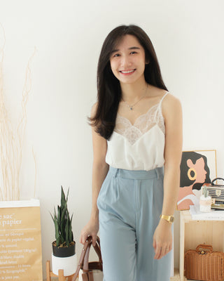 Morie Lace V Tank - LovelyMadness Clothing Online Fashion Malaysia